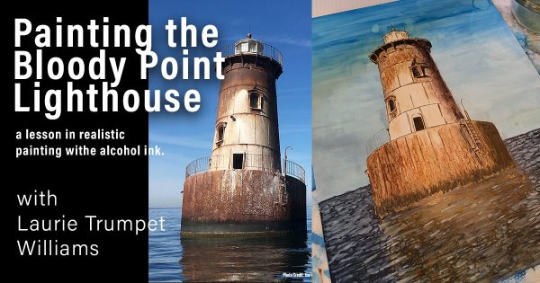 Bloody Point Lighthouse Alcohol Ink Painting Lesson