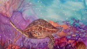Paint a Sea Turtle with Alcohol Ink
